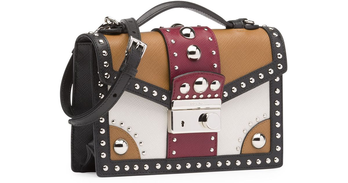 daa24c8646e5 ... low cost lyst prada tricolor studded saffiano sound bag in brown 894f9  83d4b