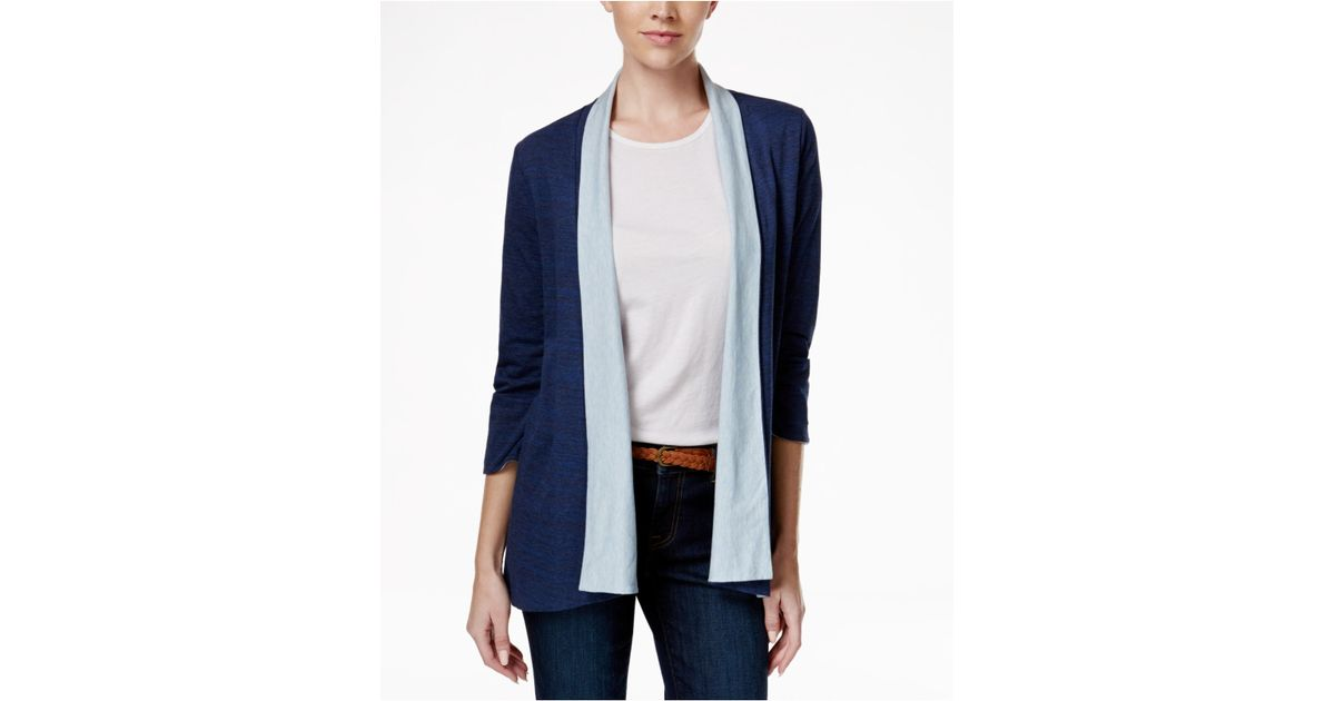 tommy hilfiger colorblocked open front cardigan in blue indigo. Black Bedroom Furniture Sets. Home Design Ideas