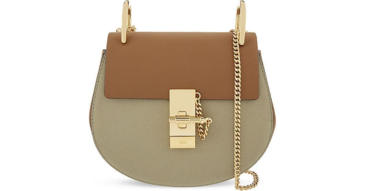 chloe look alike handbags - Chlo�� Drew Mini Saddle Cross-body Bag in Brown (Dinghy wood/baobab ...