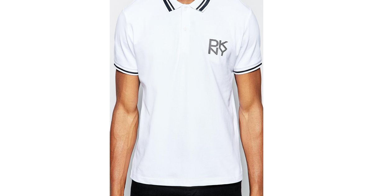 899c85d56db710 Lyst - DKNY Pique Polo Shirt Rubber Print Logo in White for Men