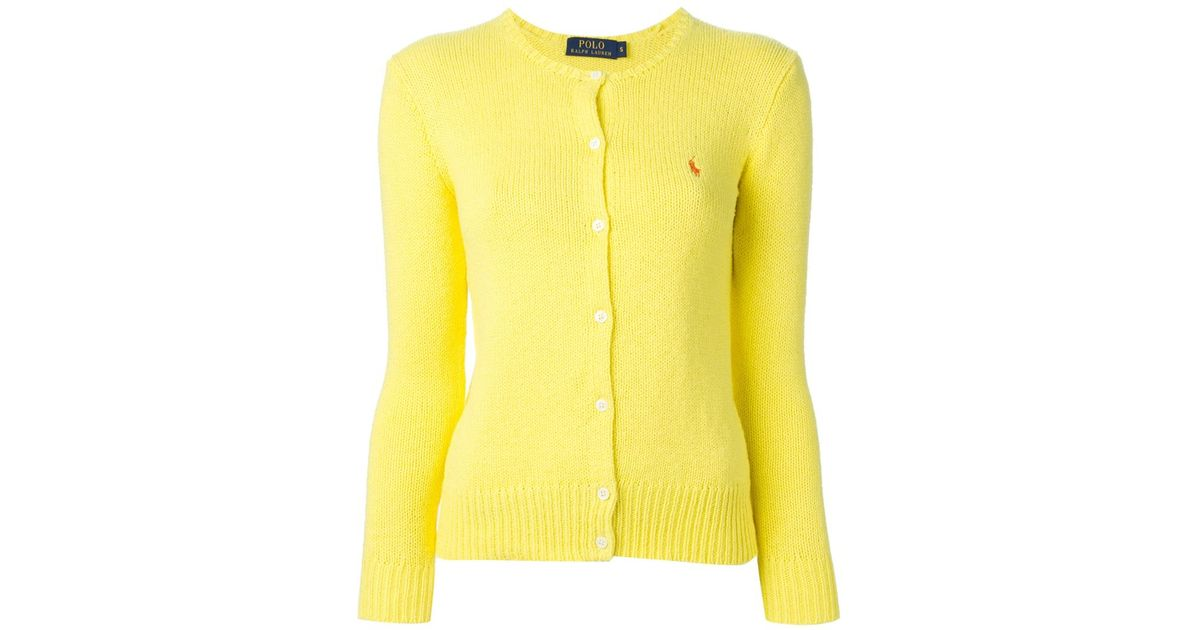 Polo ralph lauren Crew Neck Cardigan in Yellow | Lyst