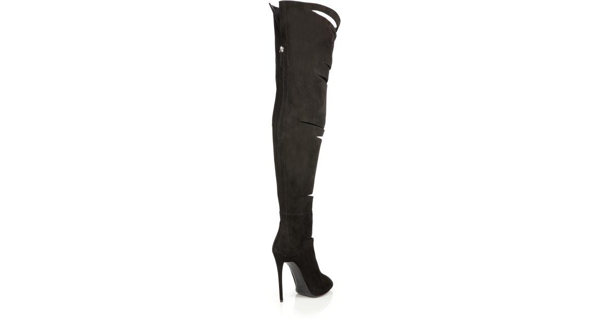 d9b03b2c1da Lyst - Giuseppe Zanotti Cut-out Suede Over-the-knee Boots in Black