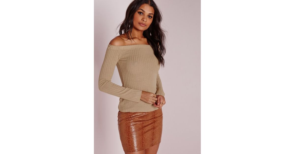 12d65d26c9987e Missguided Clean Bardot Top Camel in Brown - Lyst