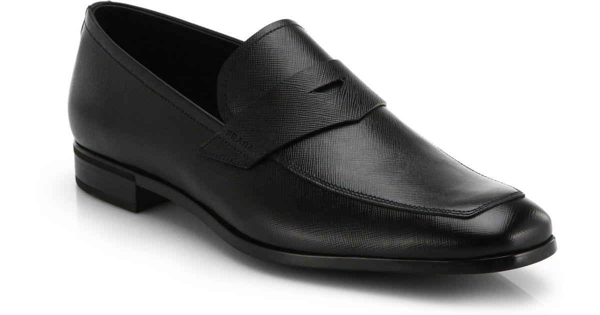 ba4ff35374f Lyst - Prada Saffiano Penny Loafers in Black for Men