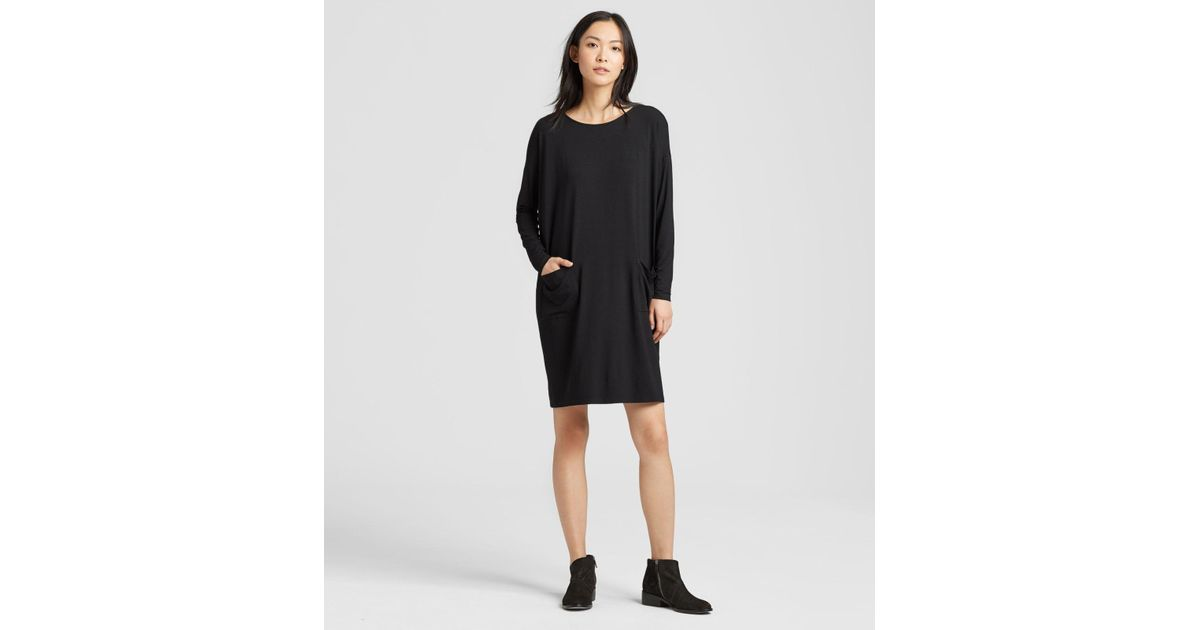 3aeeda35fb2 Lyst - Eileen Fisher Viscose Jersey Pocket Dress in Black