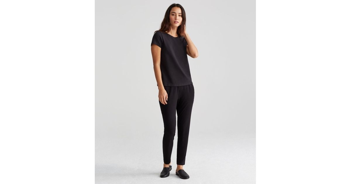 Eileen fisher organic cotton crew neck tee in black lyst for Eileen fisher organic cotton t shirt