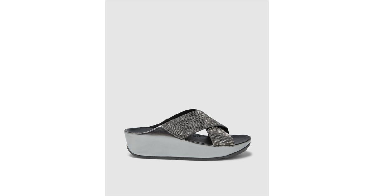 78f50f8e80af71 Fitflop Silver Wedge Sandals With Glitter Detail in Metallic - Lyst