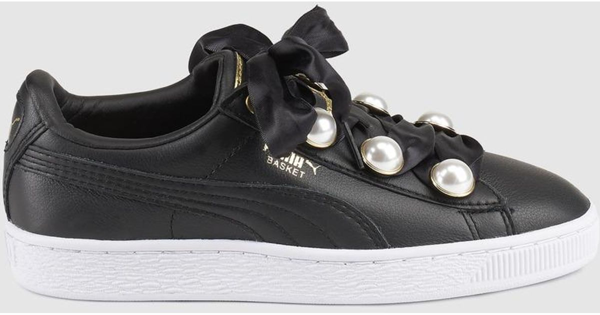 0f5a8b537152 PUMA Basket Bling Black Leather Trainers With Gemstone Decoration in Black  - Lyst