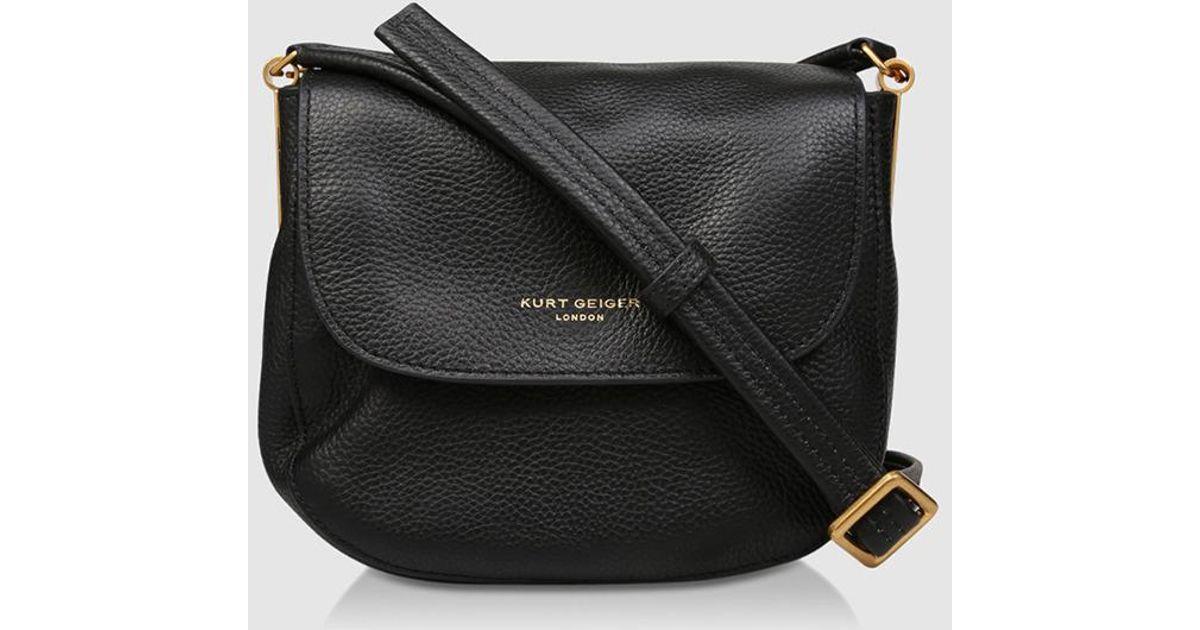 2c6a447439e Kurt Geiger Emma Small Black Leather Crossbody Bag With Flap in Black - Lyst
