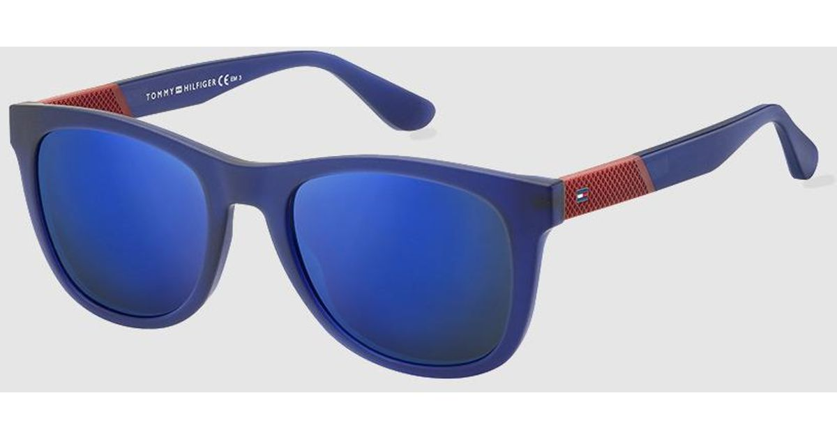 00fd0a9606c9b Lyst - Tommy Hilfiger Sunglasses With Rectangular Translucent Blue Frame in  Blue for Men