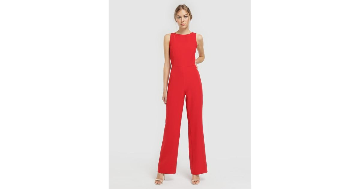 91988d3cddb Lyst - Green Coast Green Jumpsuit With Straps On The Back in Red