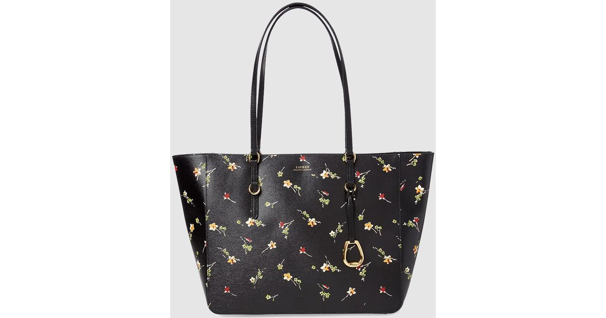 473c4e4486da Lauren by Ralph Lauren Small Black Leather Tote Bag With Floral Print in  Black - Lyst