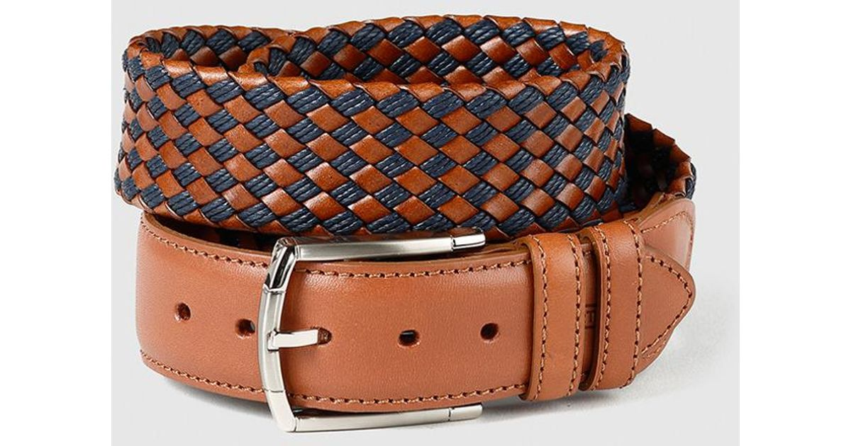 Lyst Mirto Mens Two Tone Braided Leather Belt In Brown For Men