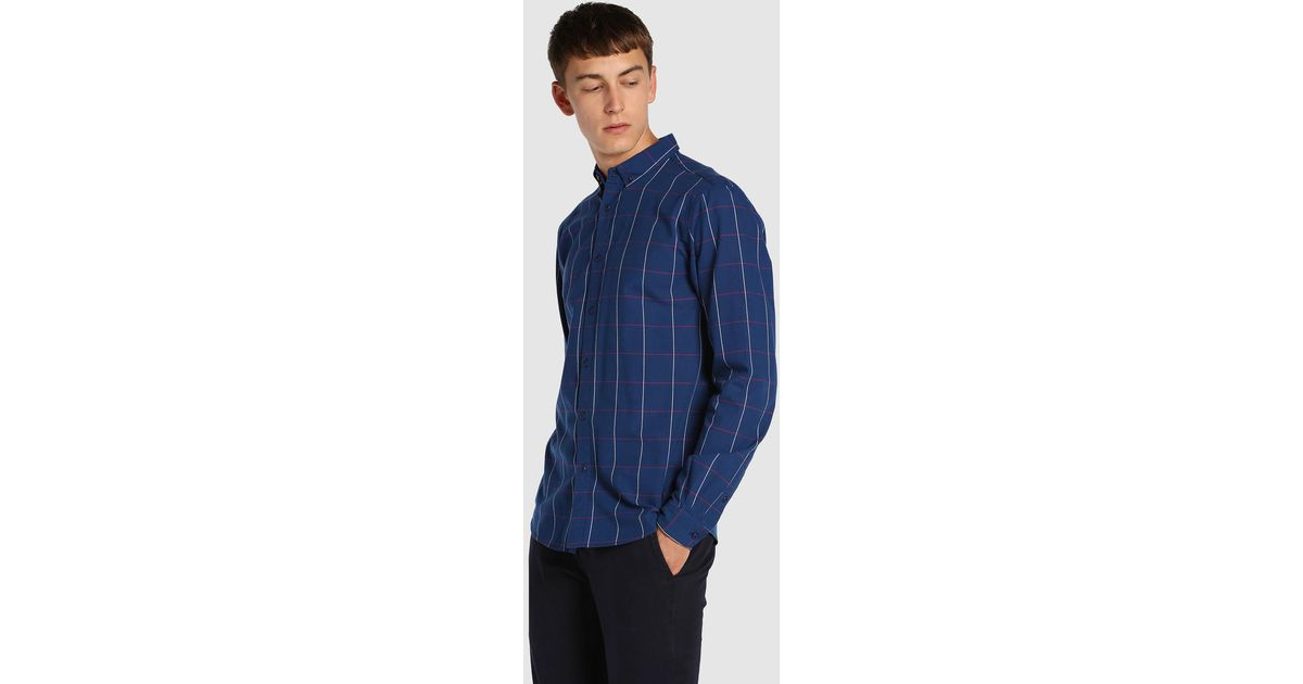0e5ab818c9 Green Coast Blue Checked Slim-fit Shirt in Blue for Men - Lyst