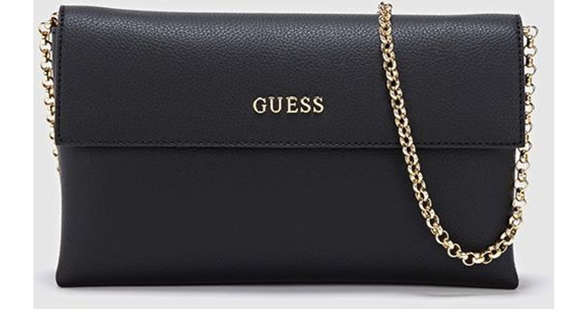 09a9b7531d Guess Black Clutch With Chain Strap in Black - Lyst