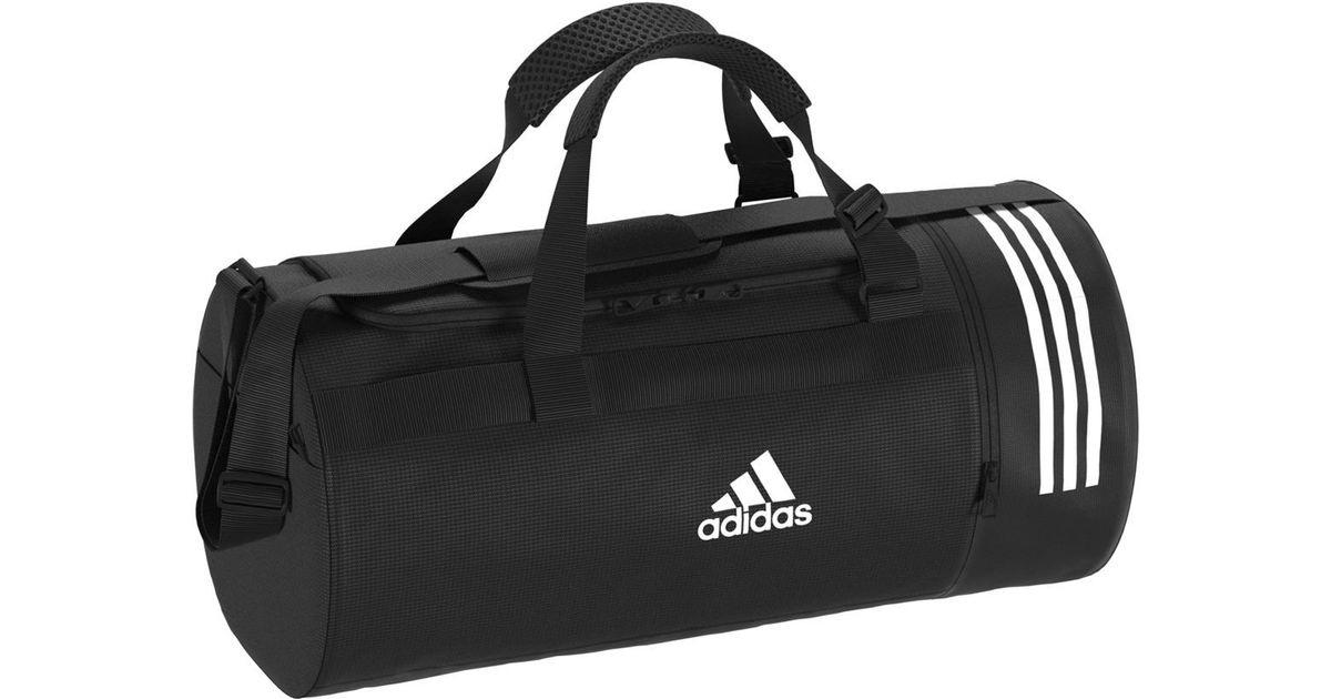 45bde89b8df Lyst - adidas Convertible 3 Stripes Duffel M Sports Bag in Black for Men