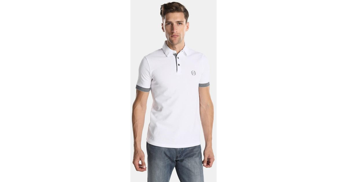 ed76e198 Armani Exchange - White Short Sleeved Piqué Polo Shirt for Men - Lyst