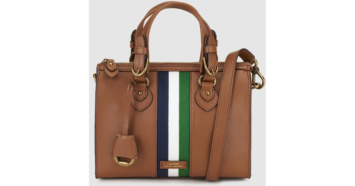 ef6e6d5027e Lyst - Lauren By Ralph Lauren Brown Leather Bowling Bag With Tricoloured  Stripes in Brown