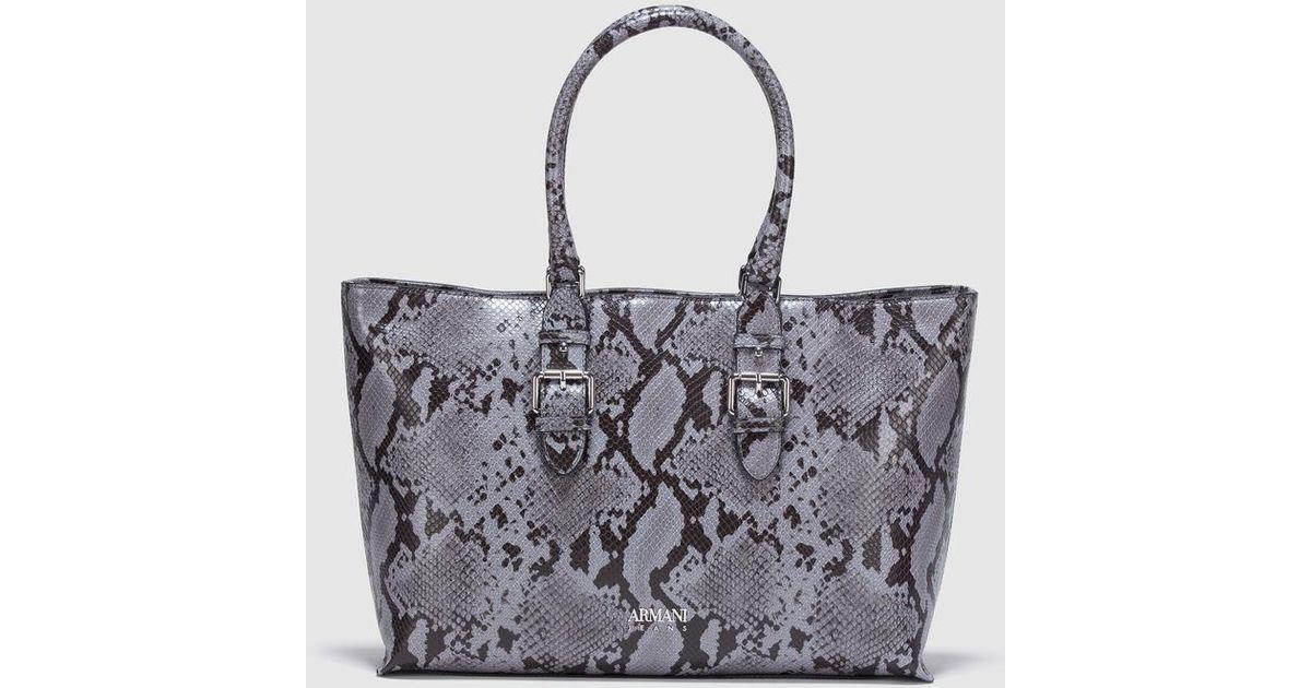 Armani Jeans Light Grey Shopper Bag With Snakeskin Embossing in Gray - Lyst 9ec6496756fc6