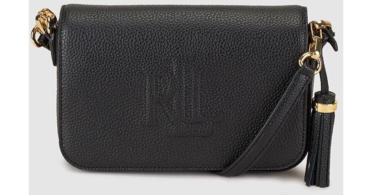 Lauren by Ralph Lauren Black Leather Messenger Bag With Side Tassel in Black  - Lyst e67d97882d