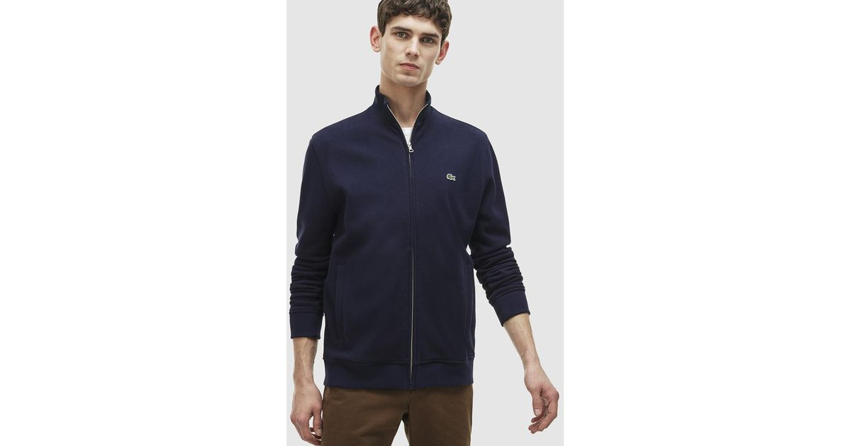 lyst lacoste blue sports jacket with zip in blue for men. Black Bedroom Furniture Sets. Home Design Ideas