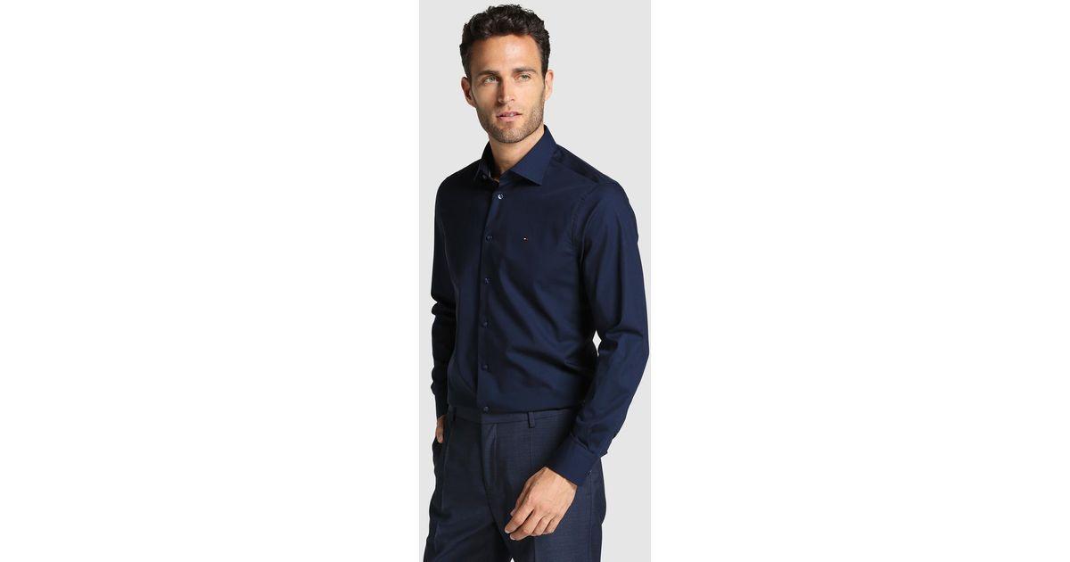 tommy hilfiger regular fit plain blue shirt in blue for. Black Bedroom Furniture Sets. Home Design Ideas