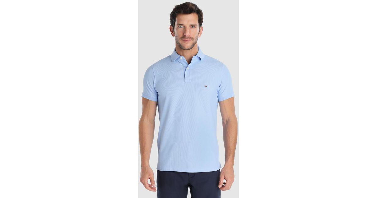 525dda0f3cb Tommy Hilfiger Pale Blue Short Sleeved Piqué Polo Shirt in Blue for Men -  Lyst