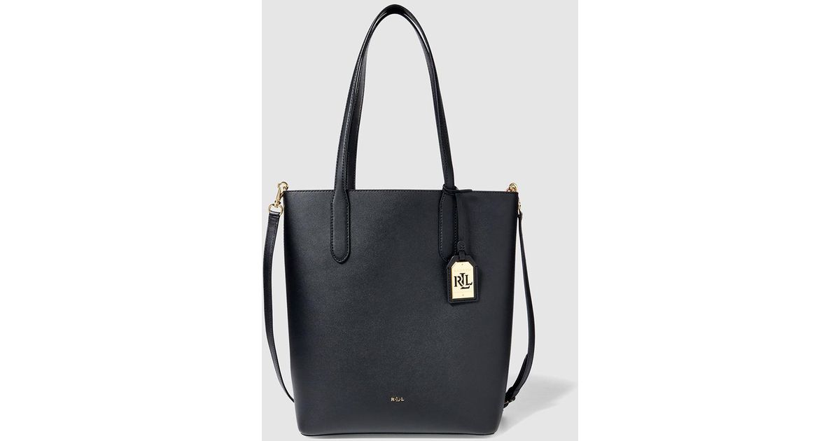 9307a12b2 Lauren by Ralph Lauren Black Leather Tote Bag With Red Interior in Black -  Lyst
