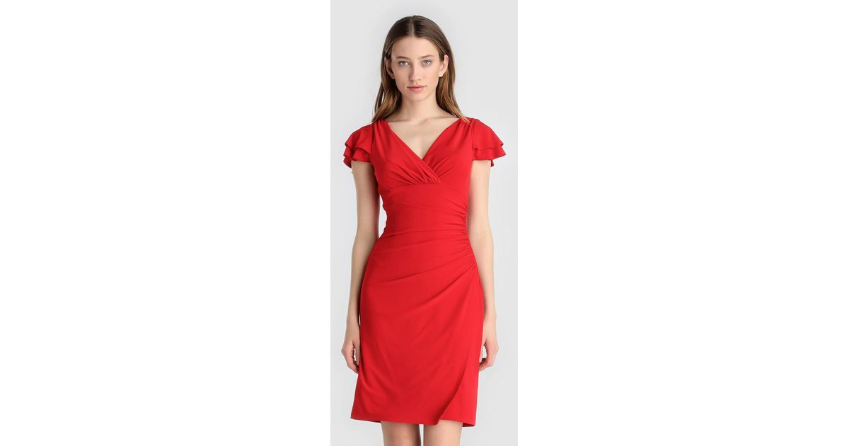 26a798ca67 Lauren by Ralph Lauren Red Dress With Frilled Sleeves in Red - Lyst