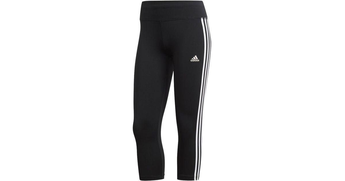 38b9d004eaf87 Lyst - adidas Designed 2 Move Climalite 3 Stripes 3/4 Leggings in Black