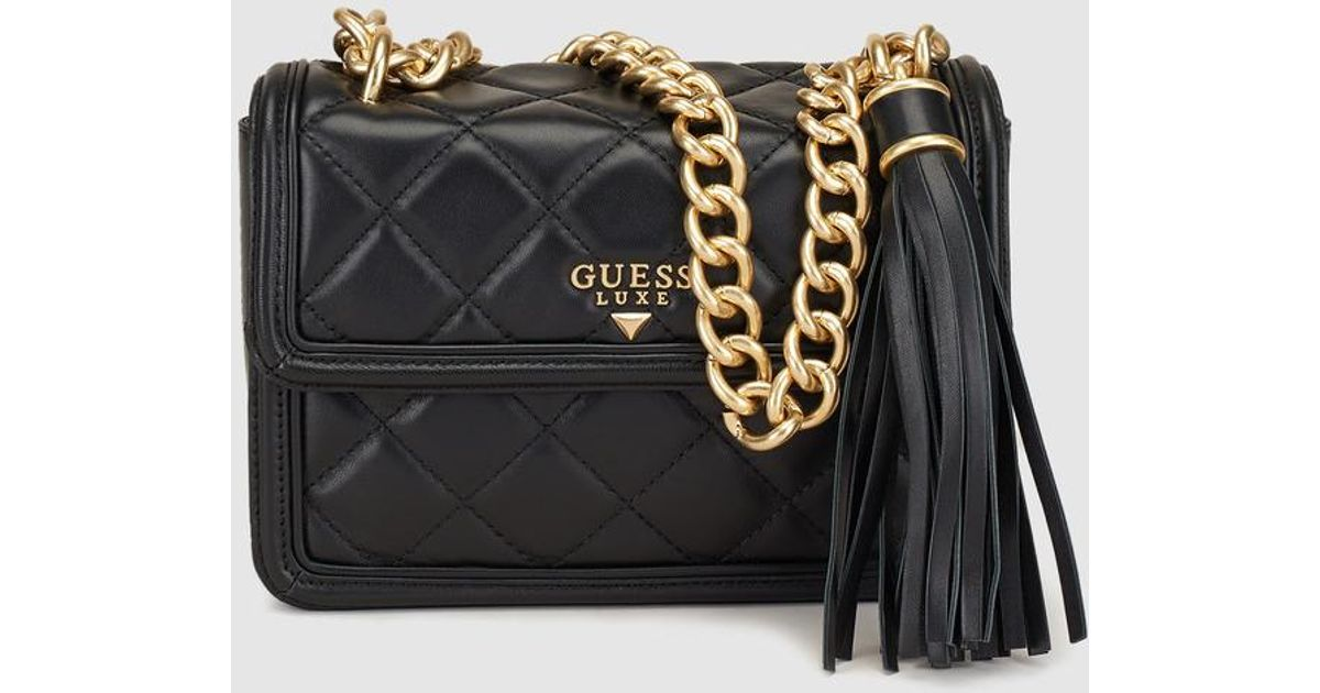 Lyst - Guess Wo Black Leather Quilted-effect