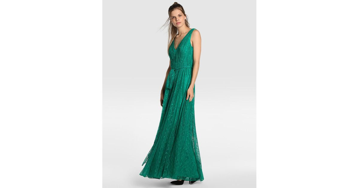 Lyst - Vera Wang Green Lace Evening Dress in Green