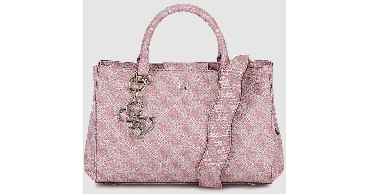 Guess Pink Handbag With Logo Print in Pink