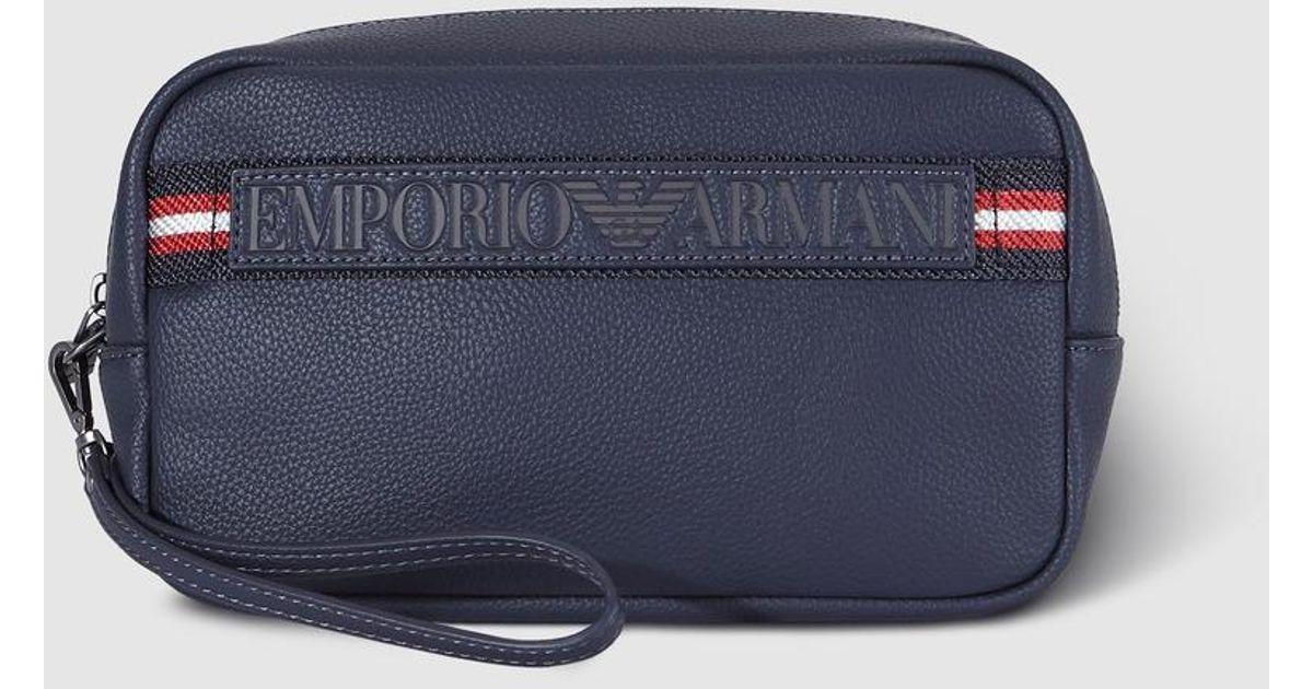 cd9cb79e8f21 Emporio Armani - Navy Blue Toiletry Bag With Logo for Men - Lyst