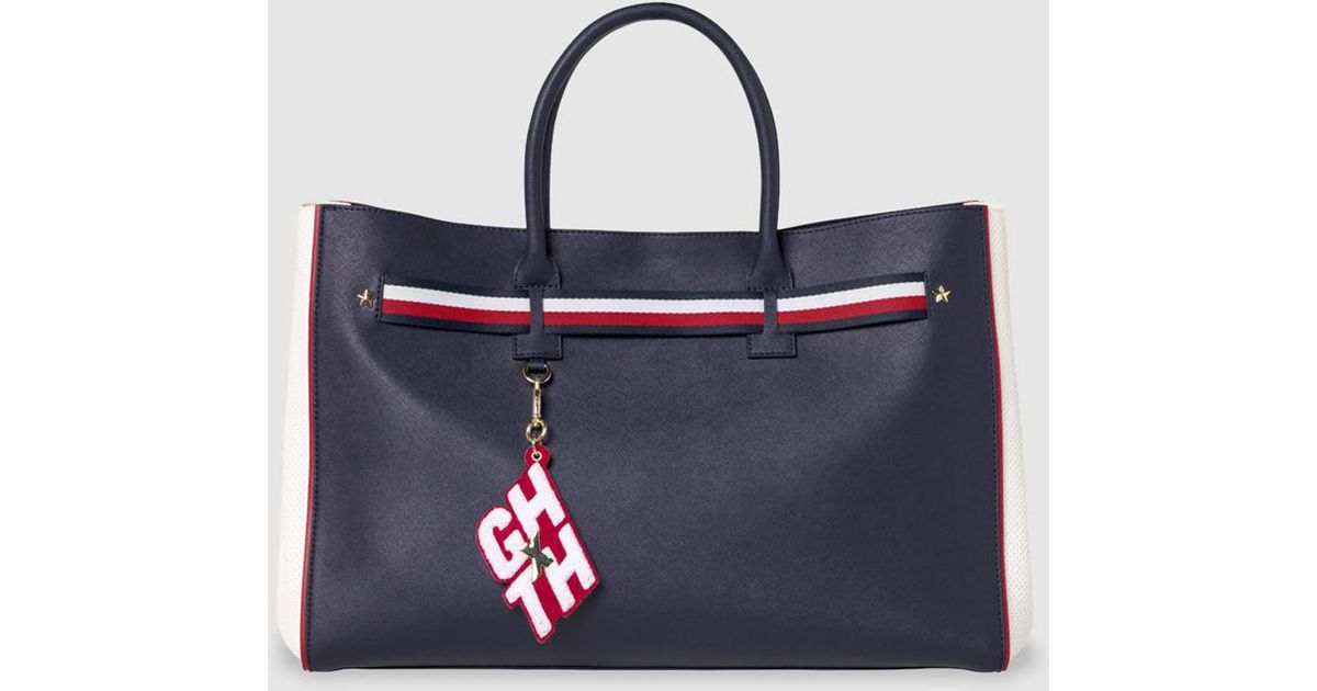 e5757d0f4589 Lyst Tommy Hilfiger Gigi Hadid Navy Blue Red And White Tote Bag