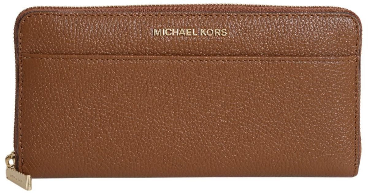 99a77ce7bd Michael Michael Kors Portafoglio Mercer Zip Around Continental In Pelle in  Brown - Lyst