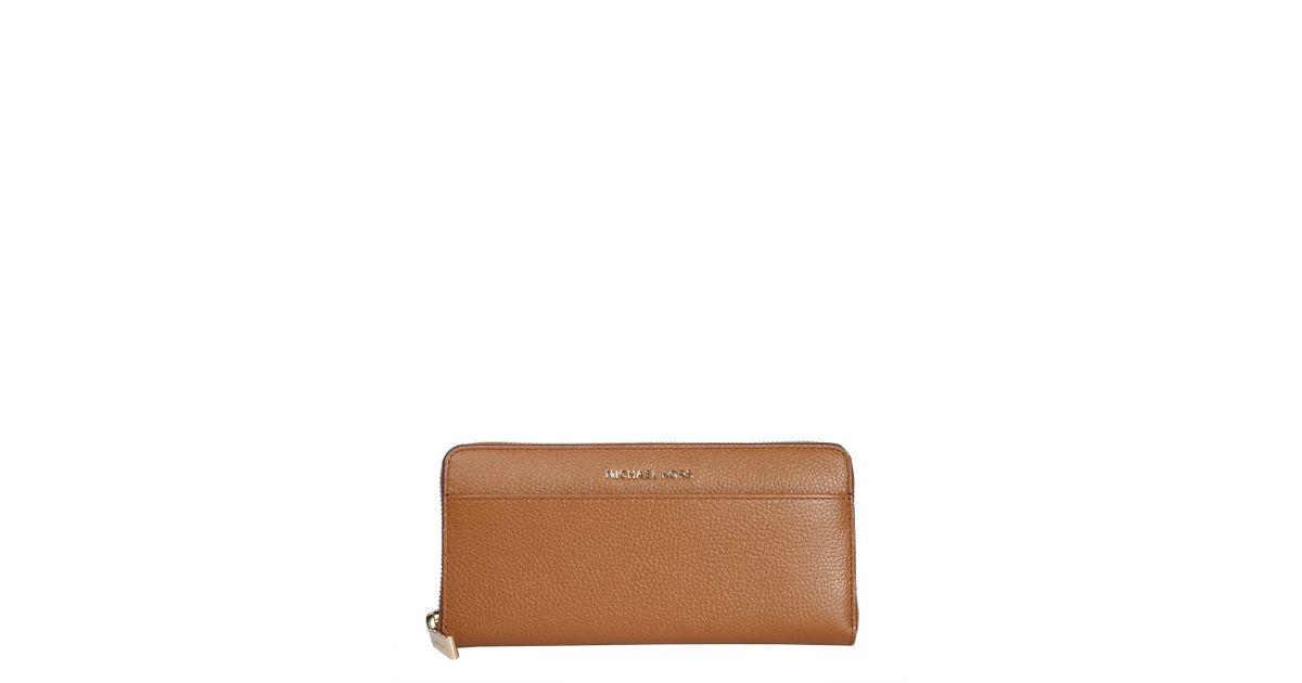 878b3c7231b1 MICHAEL Michael Kors Mercer Zip Around Leather Continental Wallet in Brown  - Lyst