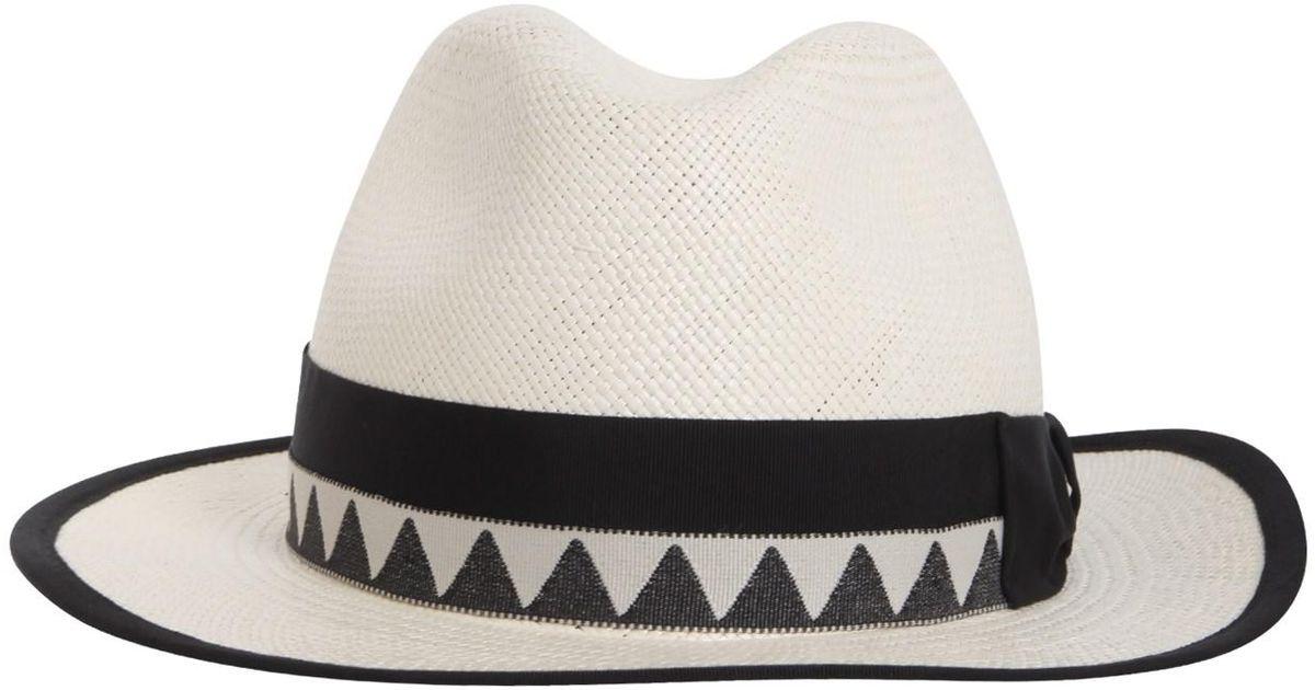 Borsalino Panama Quito Jacquard Straw Cap in White - Lyst 1c511081560a