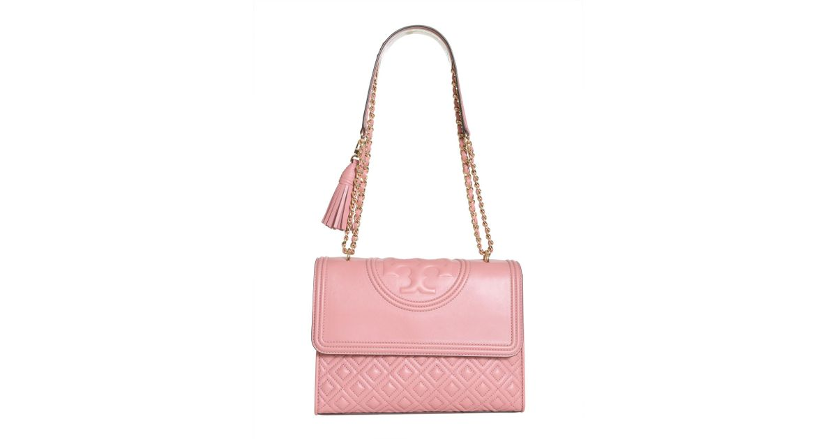 9b60d7136fd1 Lyst - Tory Burch Flaming Leather Bag in Pink
