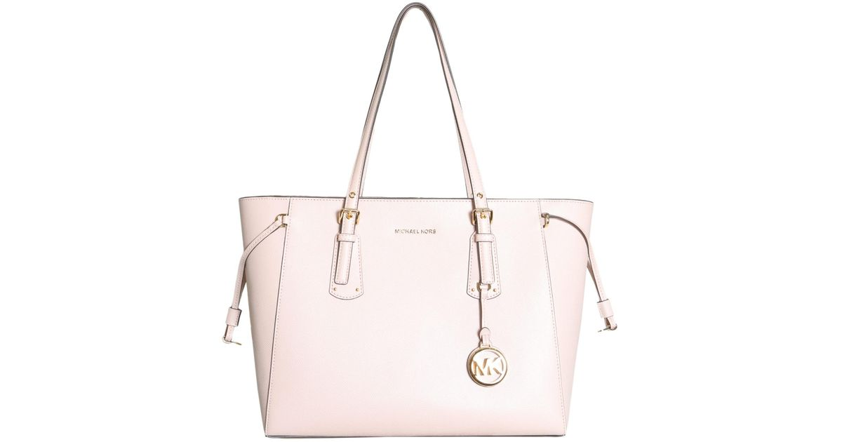 9111d4fce9f8 MICHAEL Michael Kors Voyager Medium Leather Tote in Pink - Lyst