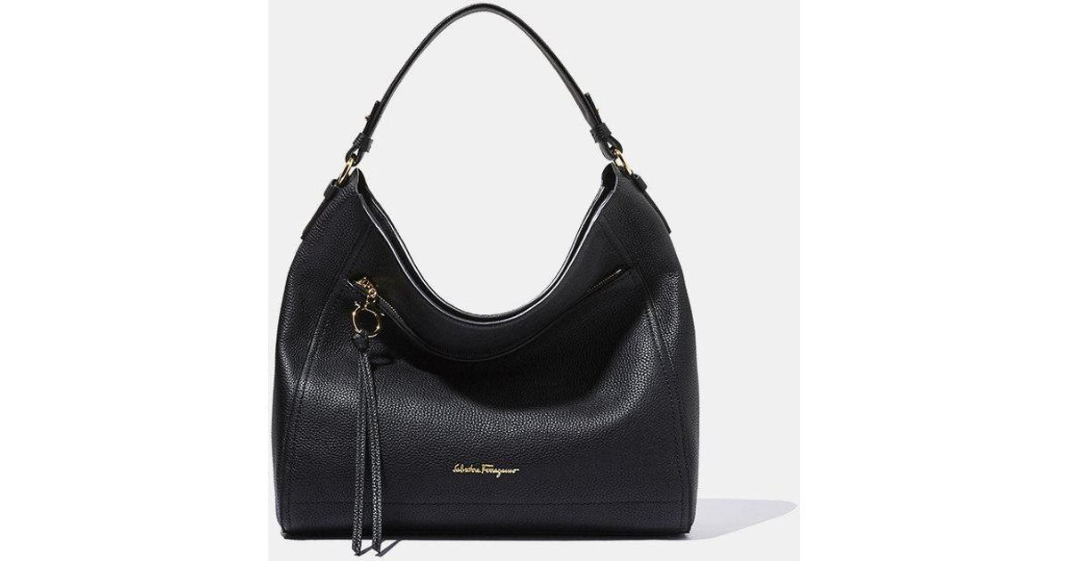 a00b0e08b2 Ferragamo - Black Ally Leather Hobo Bag - Lyst