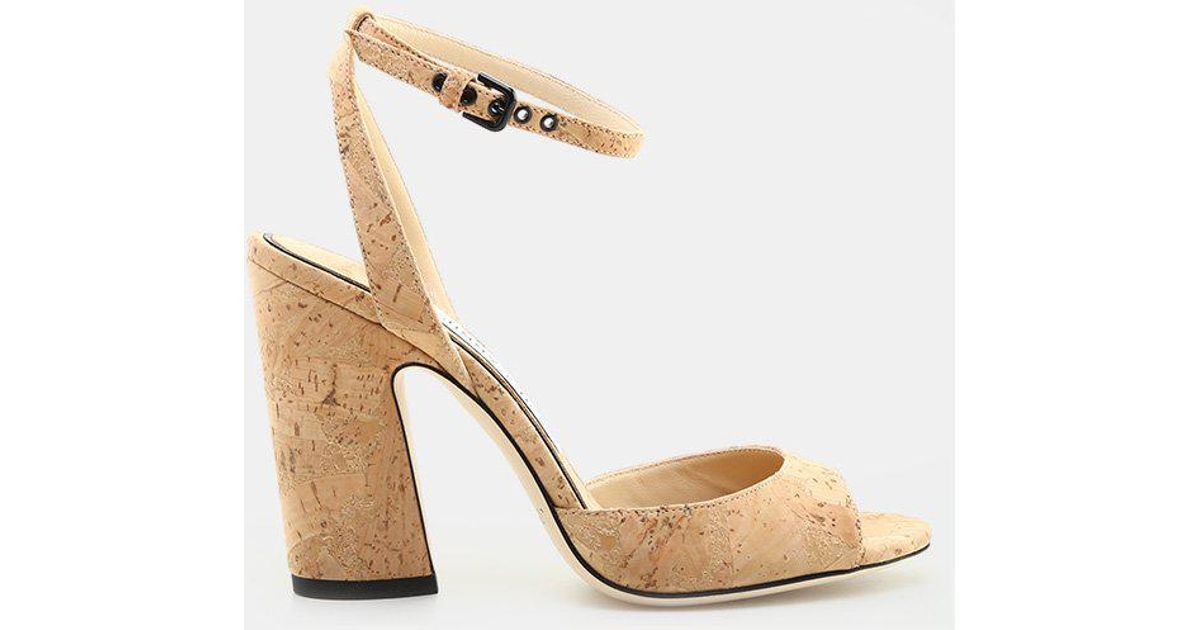 618155f577ea Lyst - Jimmy Choo Miranda 100 Cork in Natural - Save 20%