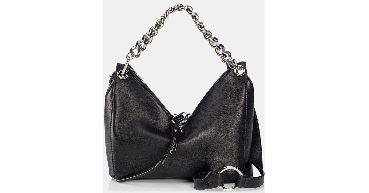 9d66033f01 Jimmy Choo Raven Nappa Leather Shoulder Bag in Black - Lyst