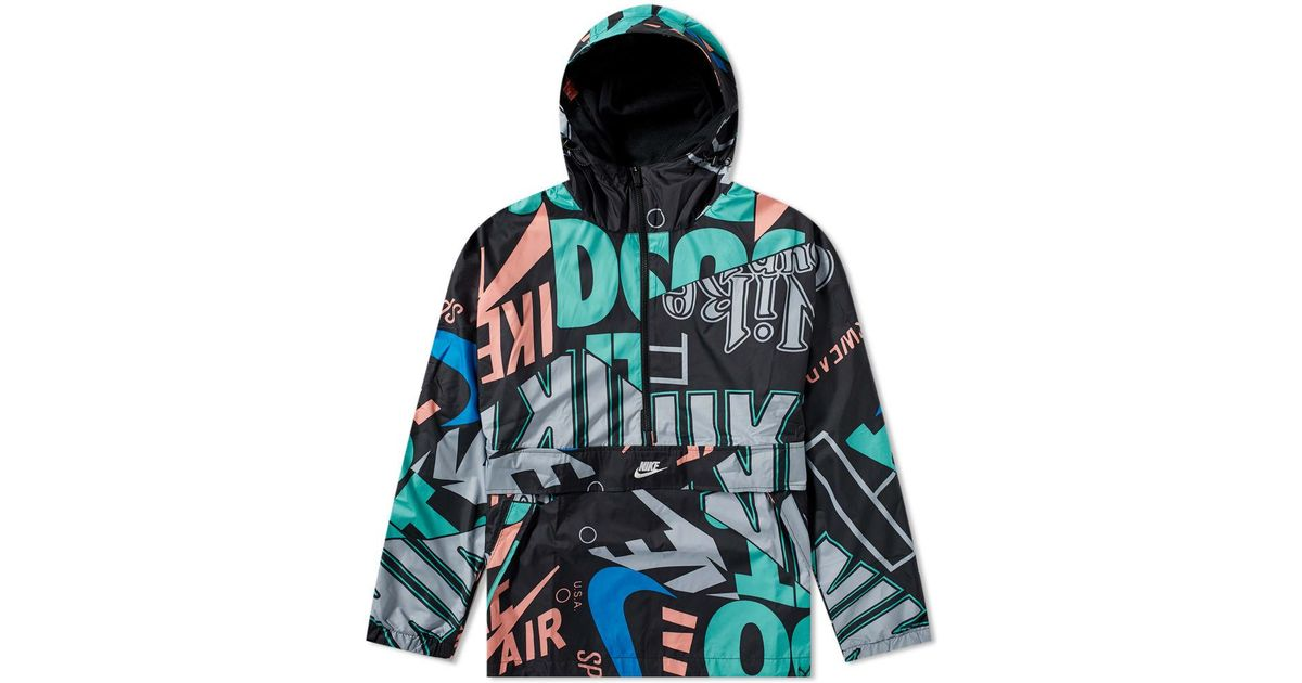 Lyst - Nike  just Do It  All Over Print Hooded Jacket in Black for Men 3c49223c2