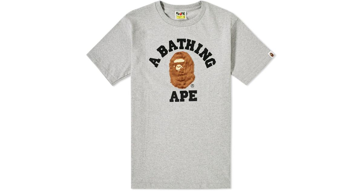 ff7c89dac Lyst - A Bathing Ape Boa College Tee in Gray for Men