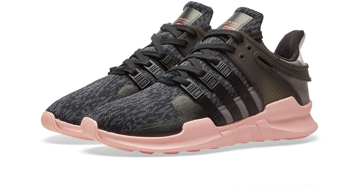 8573ed1cd837df adidas Originals Black & Pink Equipment Support Adv Sneakers in Black - Lyst