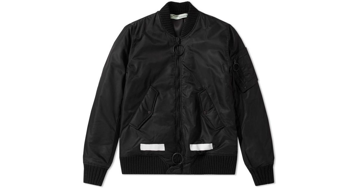 464aa1e1495e Off-White C O Virgil Abloh Brushed Bomber Jacket in Black for Men - Lyst
