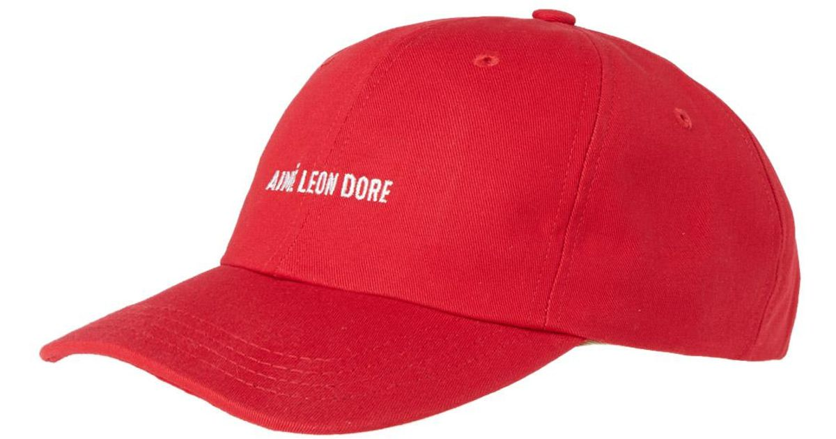 54160d7f7ec38 Aimé Leon Dore Logo Cap in Red for Men - Lyst