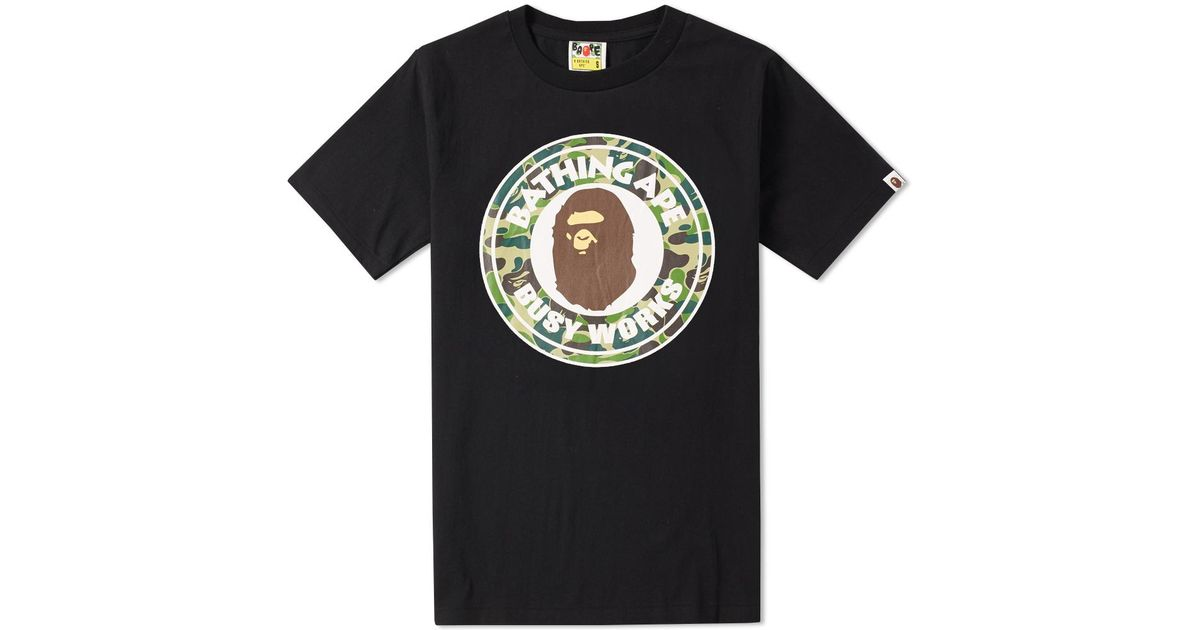 bac7588a851 Lyst - A Bathing Ape Abc Camo Busy Works Tee in Black for Men