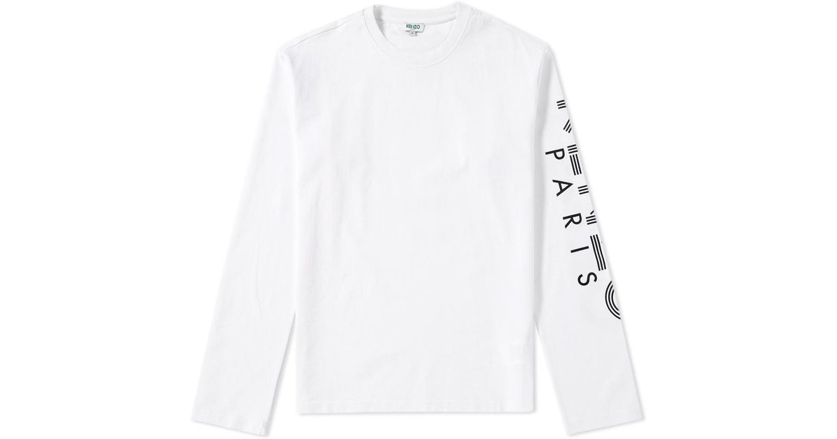 lyst kenzo long sleeve arm logo tee in white for men Perfect Sleeve